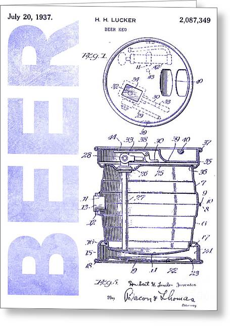 1937 Beer Tap Patent Blueprint Greeting Card