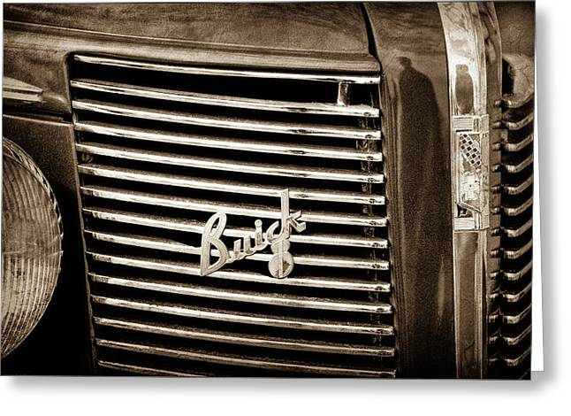 1937 Buick Grille Emblem -0215s Greeting Card