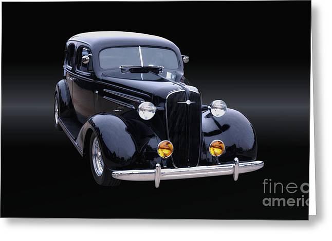 1935 Chevrolet Master Sedan B/w Greeting Card by Thomas Burtney