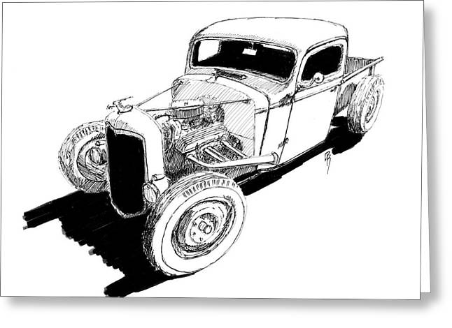1937 Chevy Bobber Truck Hot Rod Ink Dwg Greeting Card by David King