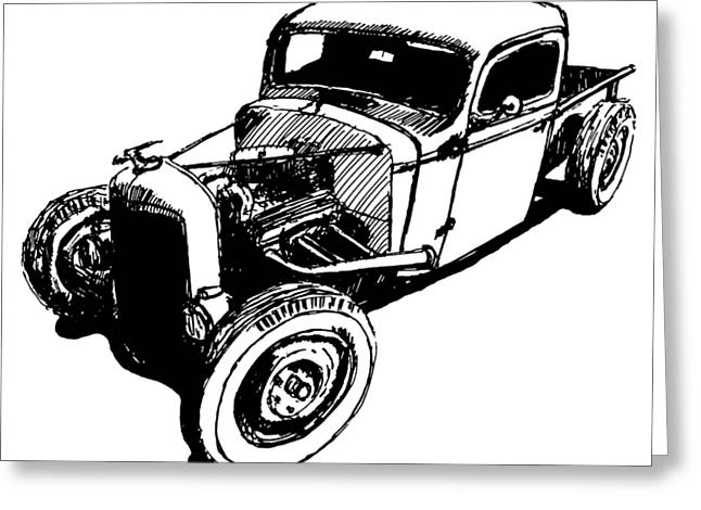 1937 Chevy Bobber Truck Hot Rod Tee Greeting Card by David King