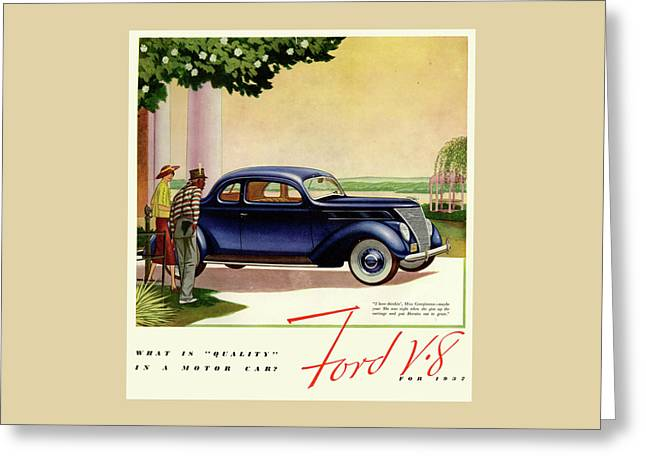 1937 Ford Car Ad Greeting Card