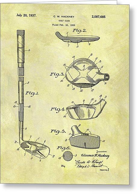 1937 Golf Club Patent Greeting Card by Dan Sproul