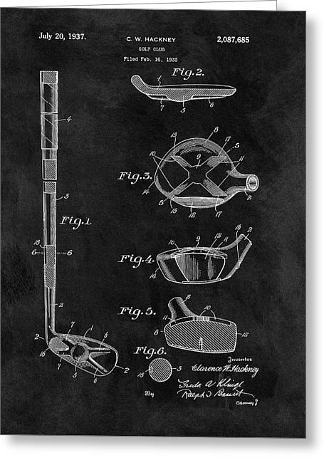 1937 Golf Club Patent Illustration Greeting Card by Dan Sproul