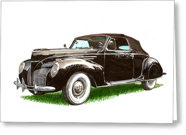 1937 Lincoln Zephyer Greeting Card by Jack Pumphrey