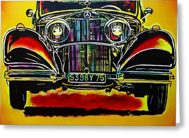Greeting Card featuring the painting 1937 Mercedes Benz First Wheel Down by Eric Dee