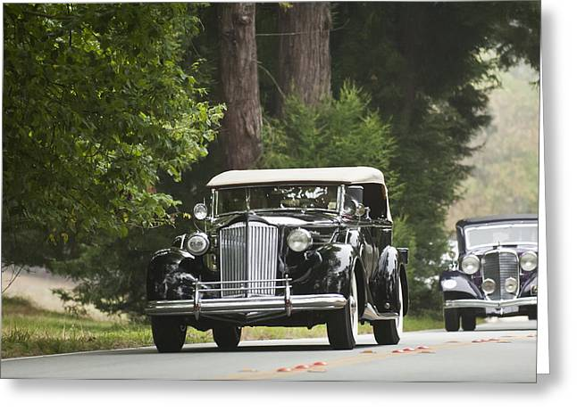 Pebble Beach Car Show Greeting Cards - 1937 Packard 1507 Twelve Sport Phaeton  Greeting Card by Jill Reger