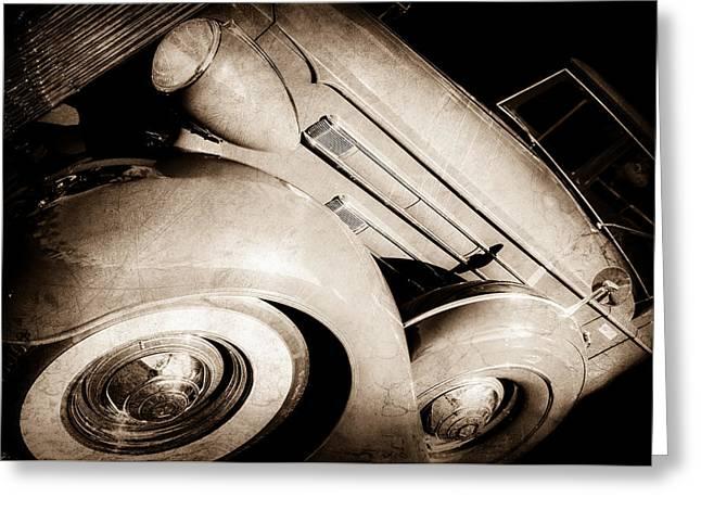 1937 Packard 1508 Dietrich Convertible Sedan -0035s Greeting Card by Jill Reger