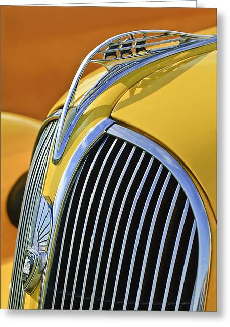 1937 Plymouth Hood Ornament 2 Greeting Card by Jill Reger