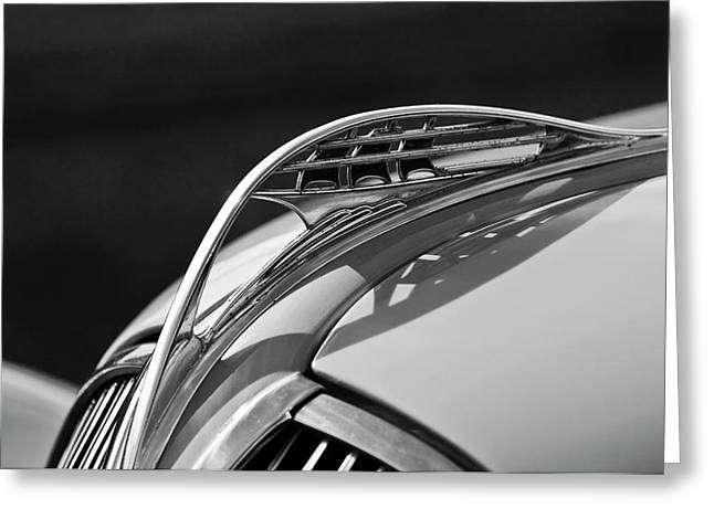 1937 Plymouth Hood Ornament 3 Greeting Card