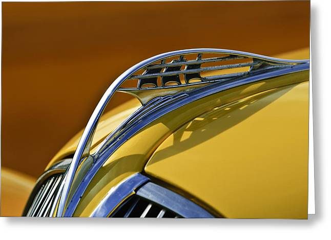 1937 Plymouth Hood Ornament Greeting Card