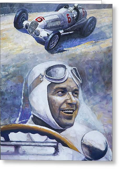 1937 Rudolf Caracciola Mb W125 Greeting Card by Yuriy Shevchuk