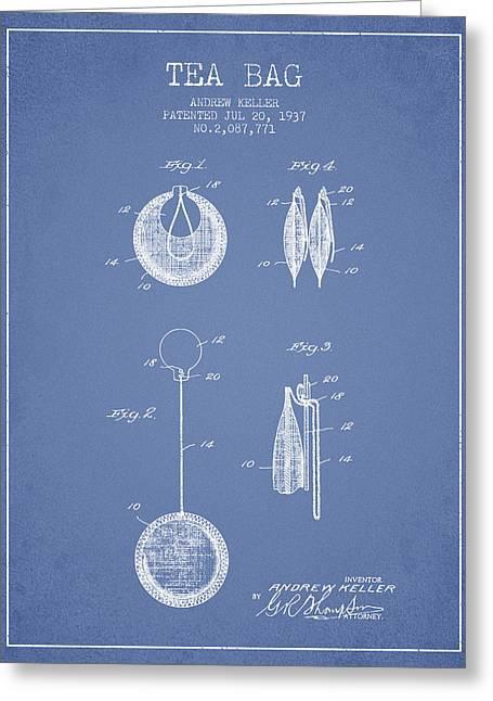 1937 Tea Bag Patent 02 - Light Blue Greeting Card