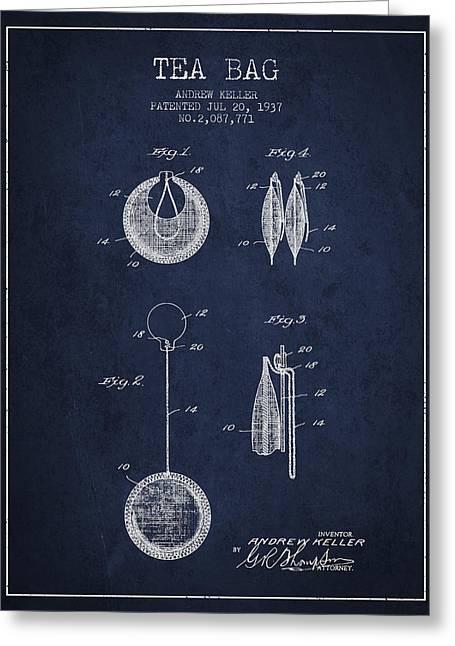 1937 Tea Bag Patent 02 - Navy Blue Greeting Card