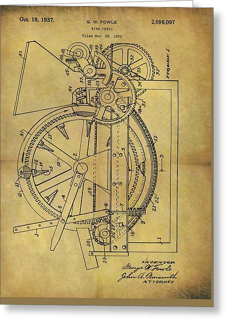 1937 Wine Press Patent Greeting Card by Dan Sproul
