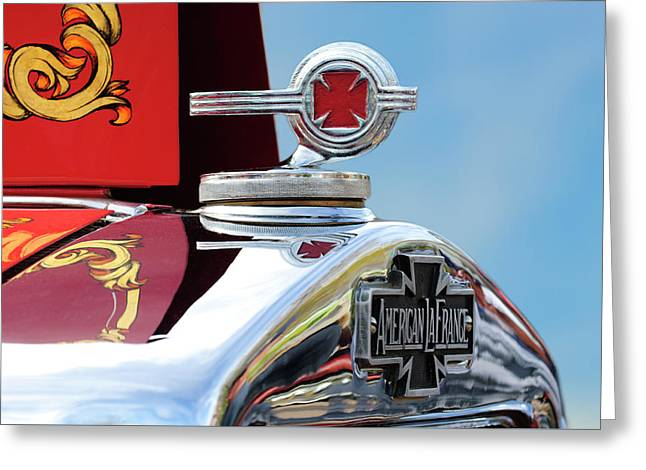 1938 American Lafrance Fire Truck Hood Ornament Greeting Card by Jill Reger