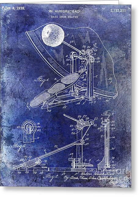 1938 Bass Drum Pedal Patent Blue Greeting Card