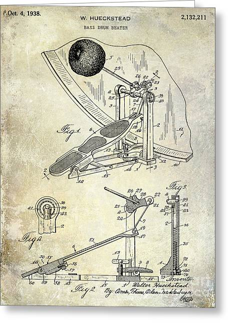1938 Bass Drum Pedal Patent  Greeting Card