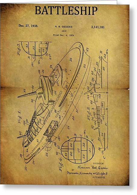 1938 Battleship Patent Greeting Card