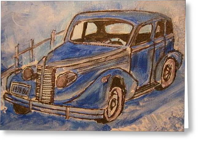 1938 Blue Buick Greeting Card by Michael Litvack