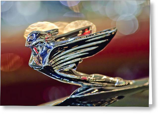 1938 Cadillac V-16 Sedan Hood Ornament Greeting Card by Jill Reger