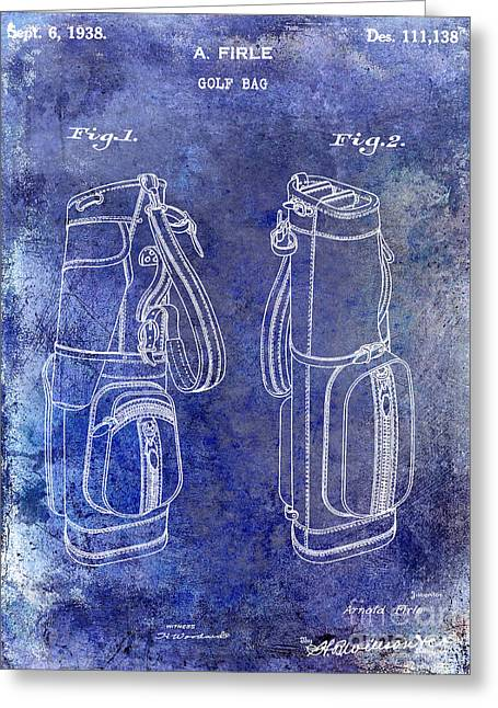 1938 Golf Bag Patent Blue Greeting Card by Jon Neidert