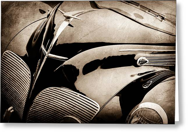 1938 Lincoln-zephyr Convertible Coupe Grille - Hood Ornament - Emblem -0108s Greeting Card