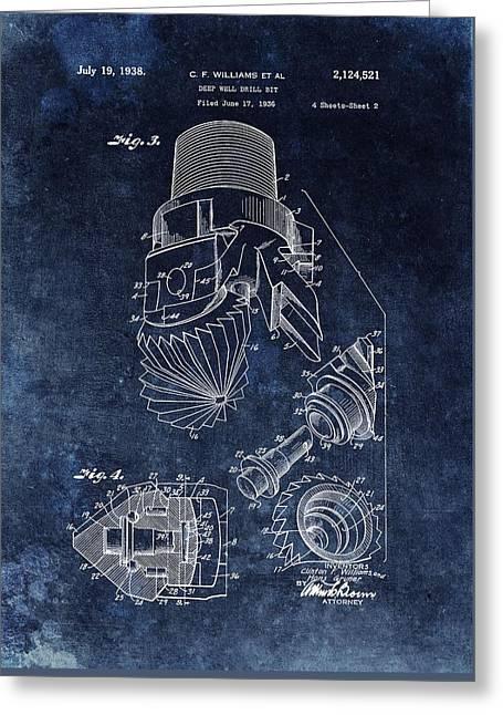 1938 Oil Drill Bit Patent  Greeting Card by Dan Sproul