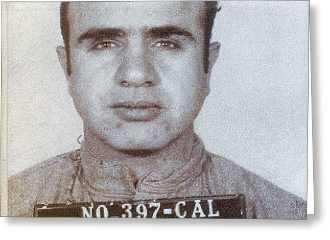 1939 Al Capone Mugshot Greeting Card by Jon Neidert