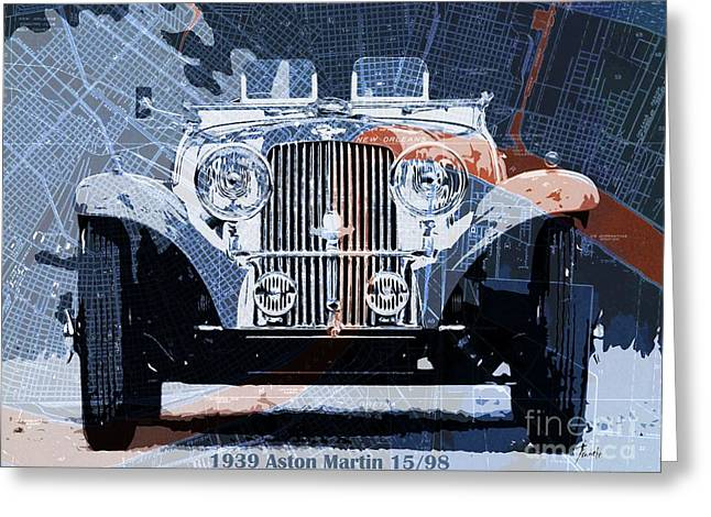 1939 Aston Martin 15-98 Over New Orleans Vintage Blue And Orange Map Greeting Card by Pablo Franchi