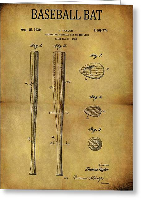 1939 Baseball Bat Patent Greeting Card