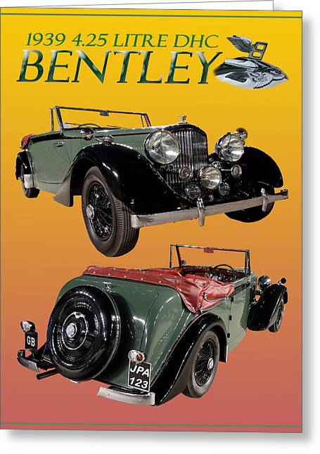Car Mascot Digital Art Greeting Cards - 1939 Bentley Drop Head Coupe Greeting Card by Jack Pumphrey
