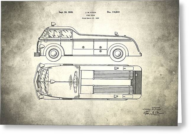 1939 Fire Truck Patent Greeting Card