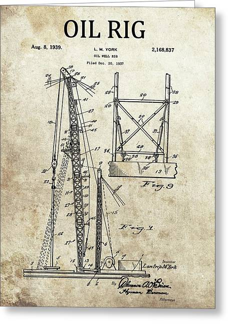 1939 Oil Rig Patent Greeting Card