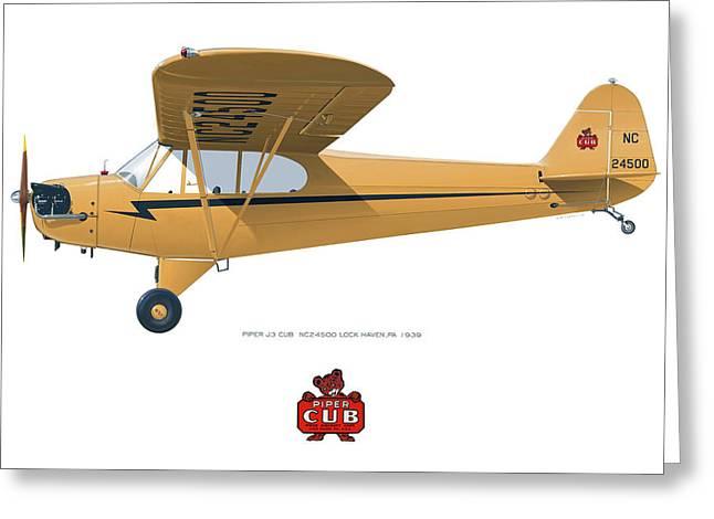 1939 Piper J3 Cub Greeting Card