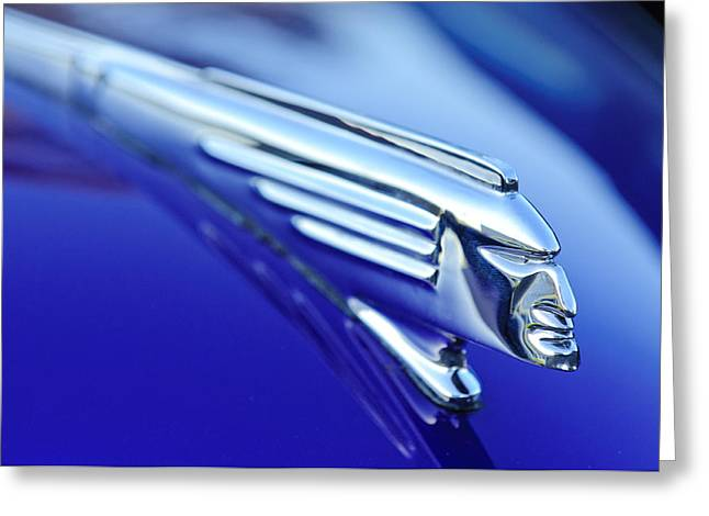 Car Mascot Greeting Cards - 1939 Pontiac Coupe Hood Ornament 4 Greeting Card by Jill Reger