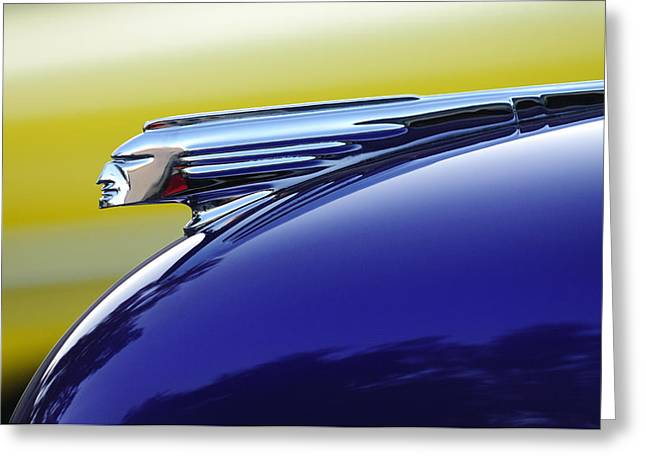 Car Mascot Greeting Cards - 1939 Pontiac Coupe Hood Ornament Greeting Card by Jill Reger