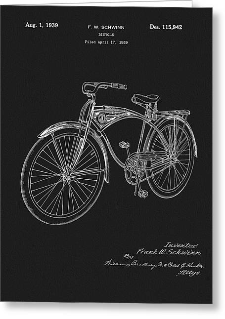 1939 Schwinn Bicycle Patent Greeting Card by Dan Sproul