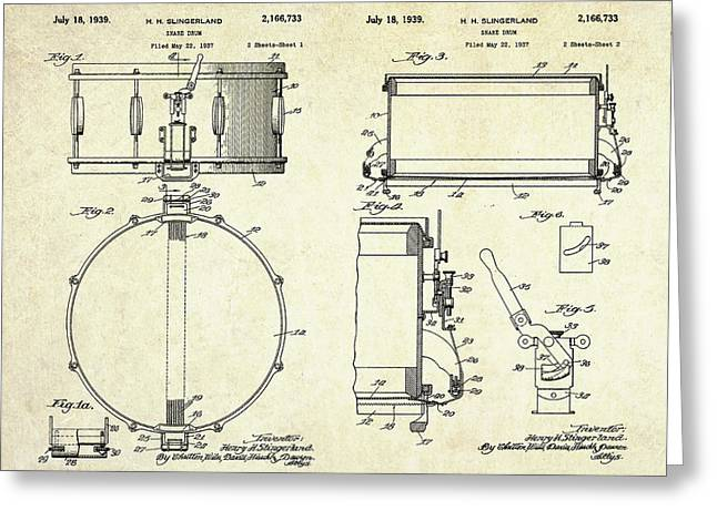 1939 Slingerland Snare Drum Patent Sheets Greeting Card by Gary Bodnar