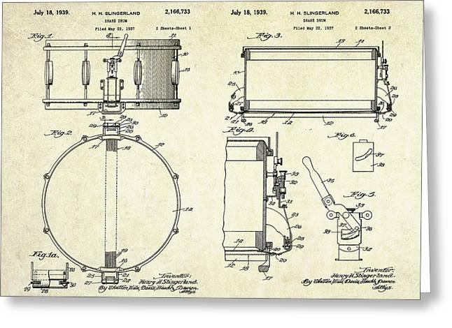 1939 Slingerland Snare Drum Patent Sheets Greeting Card