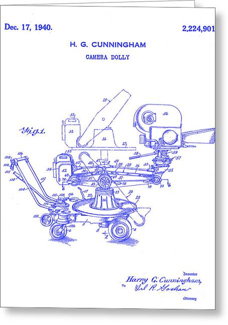 1940 Camera Dolly Patent  Blueprint Greeting Card