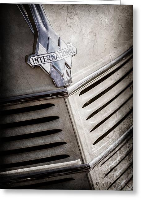 1940 International D-2 Station Wagon Grille Emblem -0219ac Greeting Card by Jill Reger