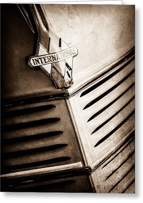1940 International D-2 Station Wagon Grille Emblem -0219s Greeting Card by Jill Reger
