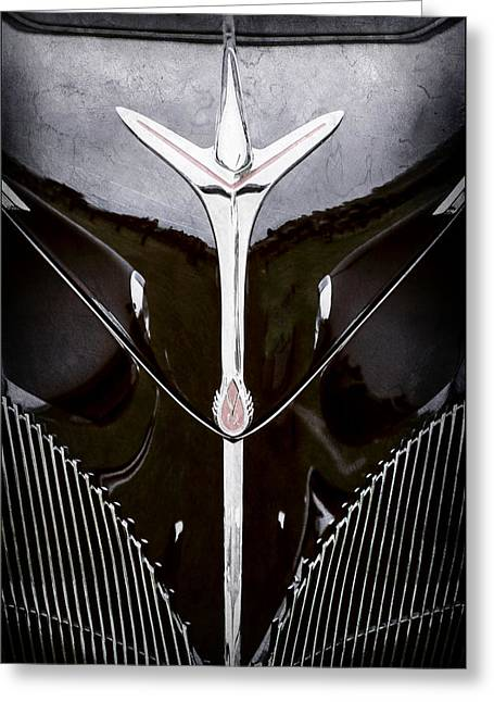 1940 Lincoln-zephyr Convertible Grille Emblem - Hood Ornament -0093ac Greeting Card