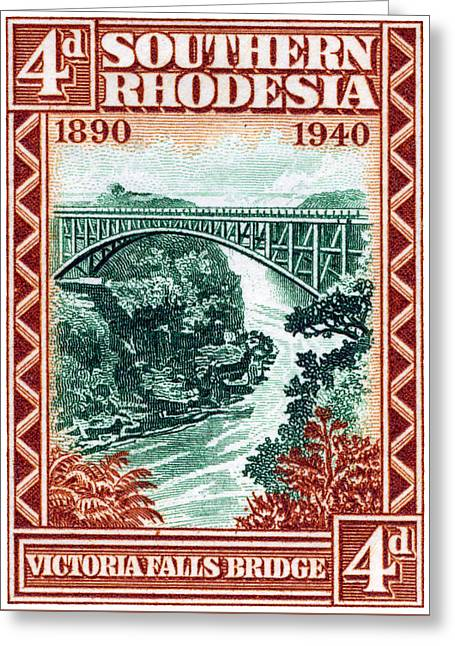 Greeting Card featuring the painting 1940 Southern Rhodesia Victoria Falls Bridge  by Historic Image
