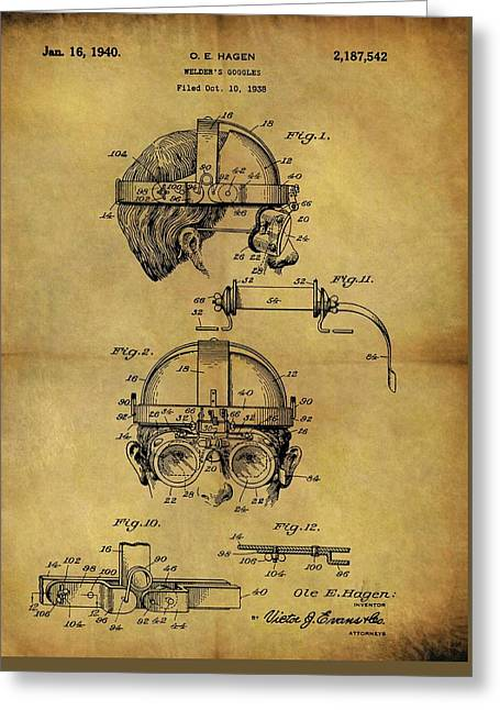 1940 Welder Goggles Patent Greeting Card by Dan Sproul