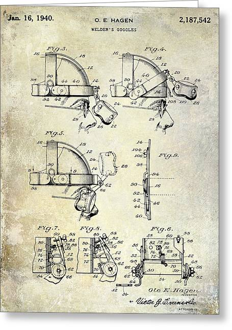 1940 Welders Goggles Patent Greeting Card by Jon Neidert