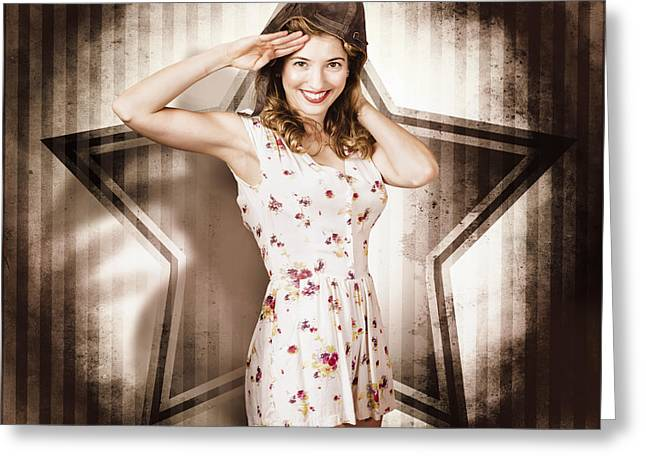 Greeting Card featuring the photograph 1940s Aviation Pinup Girl Wearing Military Fashion by Jorgo Photography - Wall Art Gallery