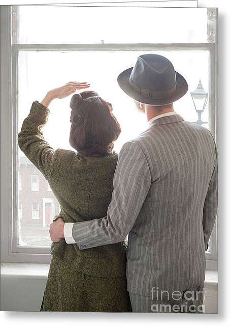 Greeting Card featuring the photograph 1940s Couple At The Window by Lee Avison
