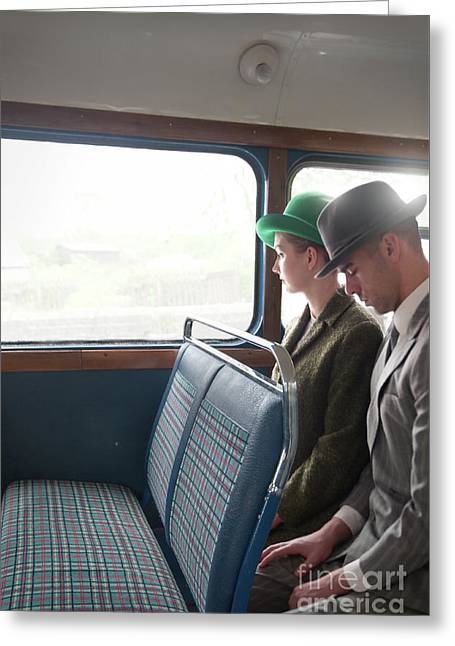 Greeting Card featuring the photograph 1940s Couple Sitting On A Vintage Bus by Lee Avison